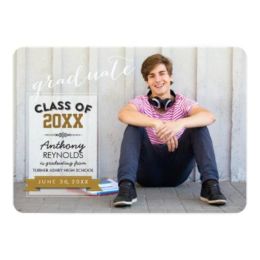 "Horizontal Typography | Graduation Announcement 5"" X 7"" Invitation Card"