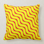Horizontal Yellow and Burnt Red Wavy Lines Throw Pillow (<em>$49.60</em>)