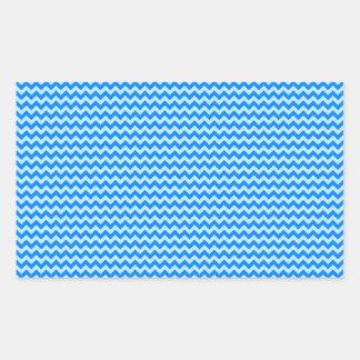 Horizontal Zigzag - Blizzard Blue and Azure Rectangular Sticker