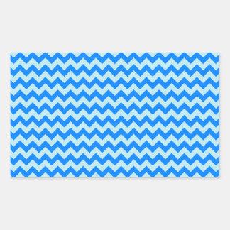 Horizontal Zigzag Wide - Blizzard Blue and Azure Rectangular Sticker
