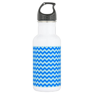 Horizontal Zigzag Wide - Blizzard Blue and Azure Stainless Steel Water Bottle