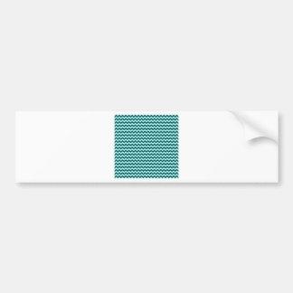 Horizontal Zigzag Wide-Celeste and DeepJungleGreen Car Bumper Sticker