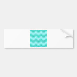 Horizontal Zigzag Wide - Celeste and Turquoise Car Bumper Sticker
