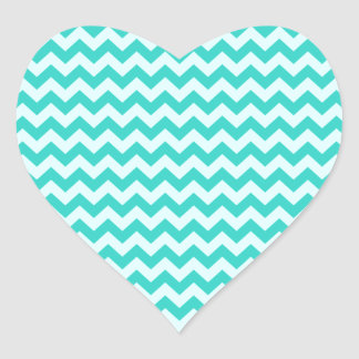 Horizontal Zigzag Wide - Celeste and Turquoise Heart Sticker