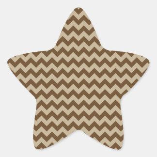 Horizontal Zigzag Wide - Khaki and Dark Brown Star Stickers
