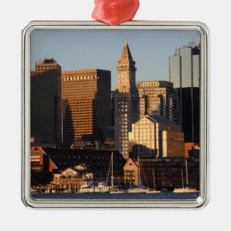Horizonte 5 de Boston, Massachusetts Adorno Cuadrado Plateado