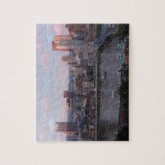 Horizonte aéreo de Pittsburgh en la puesta del sol Puzzle Con Fotos