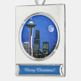 Horizonte azul de Seattle Adornos Navideños Plateados
