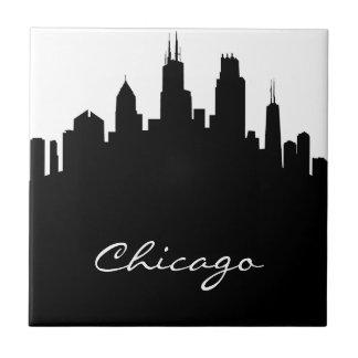 Horizonte blanco y negro de Chicago Azulejo Cuadrado Pequeño