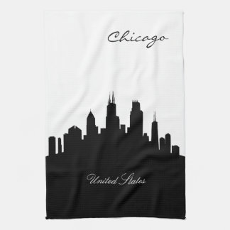 Horizonte blanco y negro de Chicago Toallas De Mano
