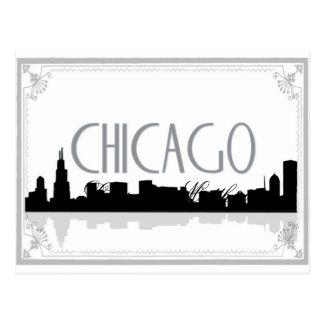 Horizonte blanco y negro de Chicago Postales