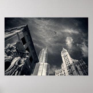Horizonte blanco y negro de la ciudad de Chicago Póster