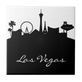Horizonte blanco y negro de Las Vegas Azulejo Cuadrado Pequeño