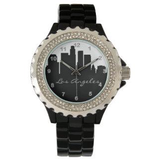 Horizonte blanco y negro de Los Ángeles Relojes De Mano