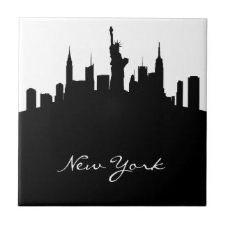 Horizonte blanco y negro de Nueva York Azulejo Cuadrado Pequeño