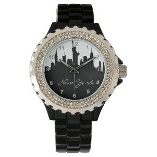 Horizonte blanco y negro de Nueva York Reloj De Mano