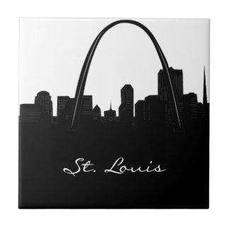Horizonte blanco y negro de St. Louis Azulejo Cuadrado Pequeño