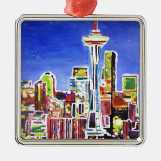 Horizonte brillante de Seattle con la aguja del Adorno Navideño Cuadrado De Metal
