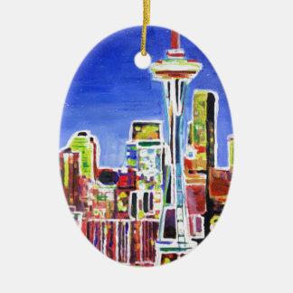 Horizonte brillante de Seattle con la aguja del Adorno Navideño Ovalado De Cerámica