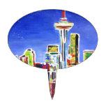Horizonte brillante de Seattle con la aguja del Decoraciones Para Tartas