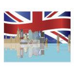 Horizonte BRITÁNICO de Londres con la postal de la