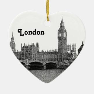 Horizonte BRITÁNICO de Londres Inglaterra grabado Adorno Navideño De Cerámica En Forma De Corazón