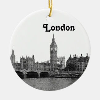 Horizonte BRITÁNICO de Londres Inglaterra grabado Adorno Navideño Redondo De Cerámica