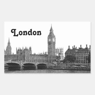 Horizonte BRITÁNICO de Londres Inglaterra grabado Pegatina Rectangular