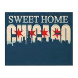 Horizonte casero dulce de la bandera de Chicago Impresiones En Madera