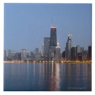 Horizonte céntrico de Chicago Azulejo Cuadrado Grande