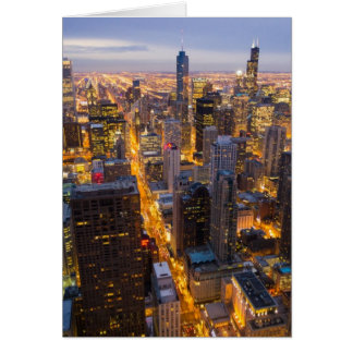 Horizonte céntrico de Chicago en la oscuridad Tarjeta De Felicitación