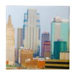 Horizonte céntrico de Kansas City de la alta subid Azulejo Cuadrado Pequeño