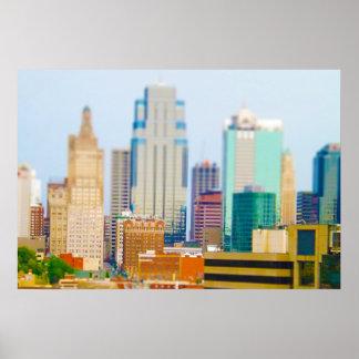 Horizonte céntrico de Kansas City de la alta subid Póster