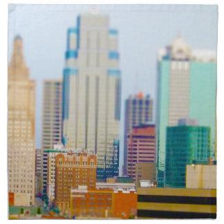 Horizonte céntrico de Kansas City de la alta subid Servilletas Imprimidas