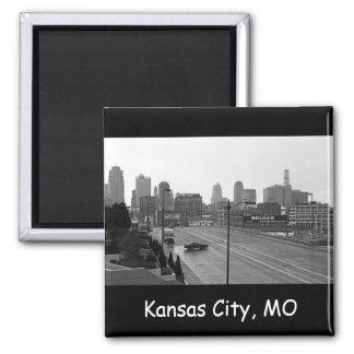Horizonte céntrico de Kansas City Imán Cuadrado