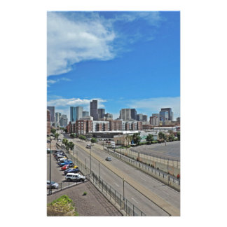 Horizonte céntrico de la ciudad de Denver Colorado Papelería De Diseño