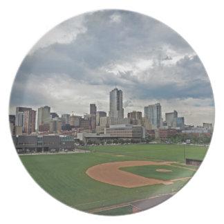 Horizonte céntrico de la ciudad de Denver Colorado Plato De Cena