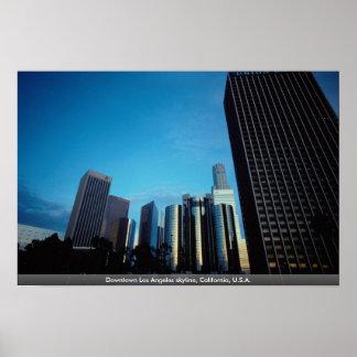Horizonte céntrico de Los Ángeles, California, los Posters