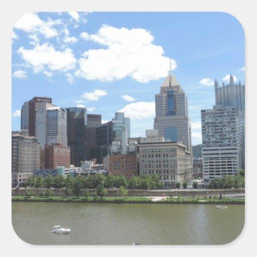 Horizonte céntrico de Pittsburgh Pegatina Cuadradas