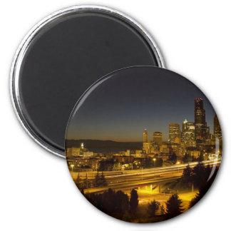 Horizonte céntrico de Seattle Washington en la pue Imán Redondo 5 Cm