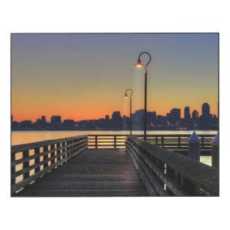 Horizonte céntrico de Seattle Washington Impresión En Madera