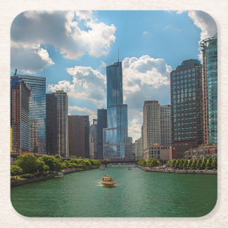 Horizonte Chicago Posavasos Desechable Cuadrado