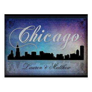 Horizonte colorido de Chicago Illinois Postal