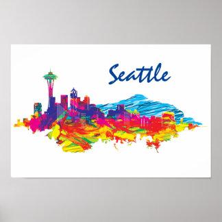 Horizonte colorido de Seattle Impresiones