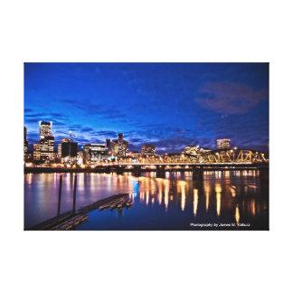 horizonte de 16,10 x 11 Portland en la noche #1 Lienzo Envuelto Para Galerías