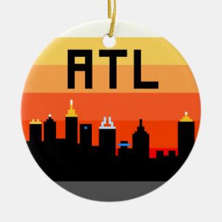 Horizonte de 8 bits ATL de Atlanta Adorno Navideño Redondo De Cerámica