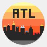 Horizonte de 8 bits ATL de Atlanta Pegatina Redonda