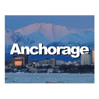 Horizonte de Anchorage Alaska con Anchorage en el Postal
