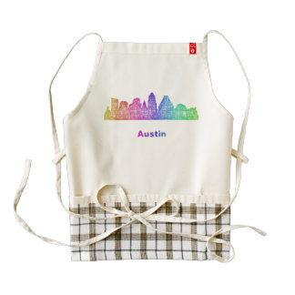 Horizonte de Austin del arco iris Delantal Zazzle HEART