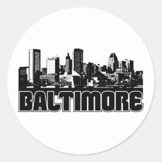 Horizonte de Baltimore Pegatina Redonda